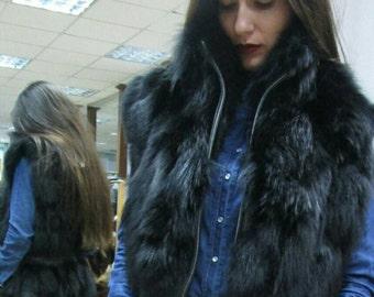 NEW!Natural,Real Black Fox Vest! New model!