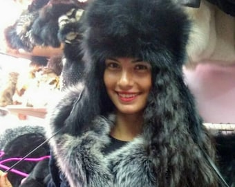 New!Natural,Real BLACK FOX Trapper style HAT!