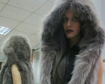 New Natural Real Amazing,Dark NUDE color Hooded Fox Fur vest!