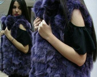 NEW!!! Natural,Real PURPLE color Fox Fur Vest!!!