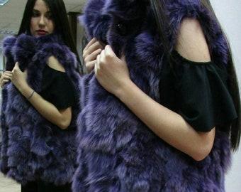 NEW Natural Real PURPLE color Fox Fur Vest!