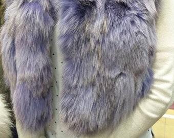 New!Natural Real LILAC Fox Fur short Vest Bolero!