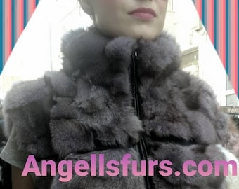 New Real Natural SILVER Frost FOX Fur Vest!