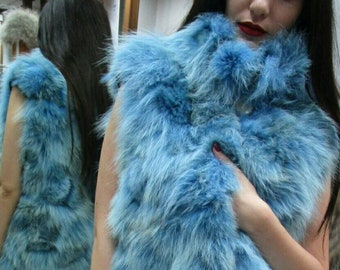 New Natural Real LIGHT BLUE FOX Fur Vest!