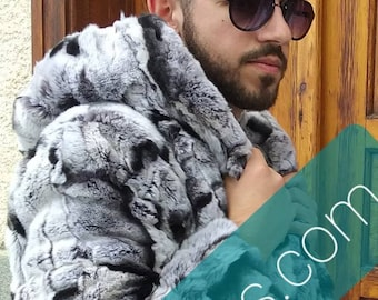 MEN'S New Real Natural Hooded REX fur coat in Chinchilla color!