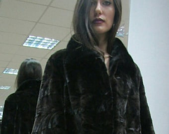 NEW!!! Fine Natural Real sheared Black chocolate MINK,ONE Size Fur Jacket in A-line!!!