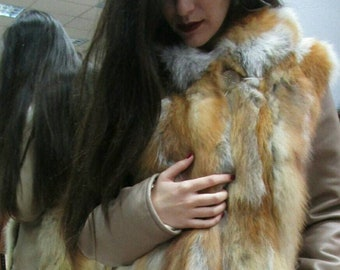 New,Natural Real Hooded Red fox jacket with Leather!
