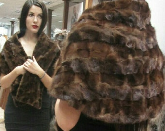 NEW!!!Natural,Real,ONE SIZE sleevless Brown Mink Fur Cape-Shawl-Etol-Scarf!!!