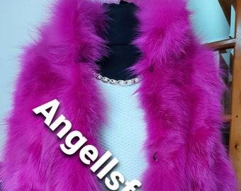 New Natural Real MAGENTA PINK Fox Fur vest!!!