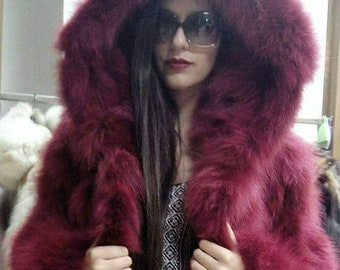 New,Natural Real Fox Hooded  jacket in light Burgundy color!