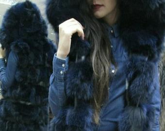 New Natural Real LONG Hooded  BLUE Color FOX  Fur Vest!