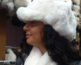 New!Natural,Real Beautiful model White Rex Fur HAT in ONE SIZE!