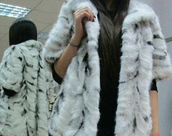 NEW!Natural Real  Black kross Mink Fur vest-jacket!