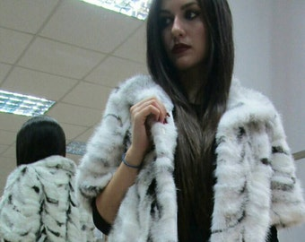 NEW!!!Natural Real  Black kross Mink  Fur jacket!