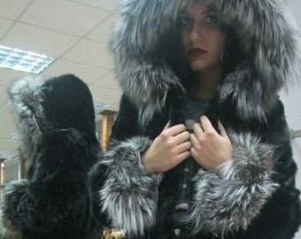 NEW!!!Natural Real Hooded Mink Fur Jacket with Silver Fox!!!