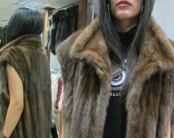 NEW! Natural,Real Fullskin Long MINK Fur Vest!