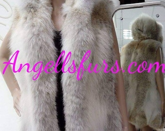 New BEAUTIFUL FLUFFY Natural Real Hooded Coyote Vest!