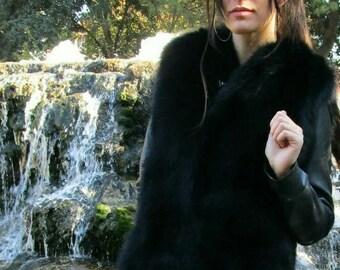 NEW! Natural,Real BLACK Fullskin Fox Fur Vest!!!