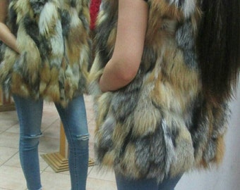 New Natural Real  Silver Kross Fox Fur vest!