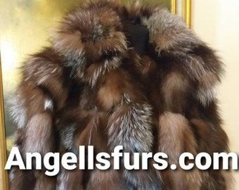 MEN'S New!Real Natural  CRYSTAL FOX Fur Jacket!