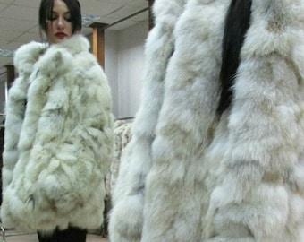 NEW!!!Natural Real Fox Fur coat!