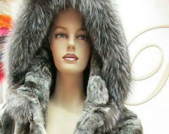 NEW!!!Natural,Real,ONE Size-Hooded REX Fur cape with silver fox!