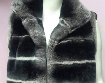 MEN'S New!Real, Natural Hooded full skin long REX Vest!
