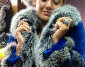 NEW!Natural Real Amazing color Mink  fur jacket with Fox details!