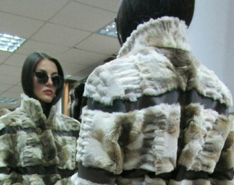New!Natural,Real Modern sheared Coyote Fur coat with leather straps!