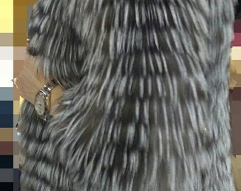 NEW!Natural Real Silver FOX Fur Coat!