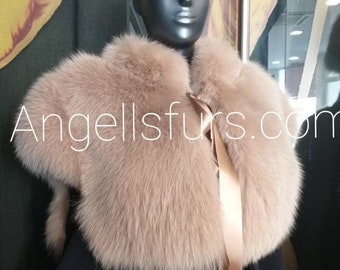 New!Natural Real ONE SIZE Full pelts FOX Fur Bolero!