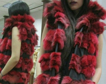 NEW! Natural,Real Long  colored RED Fox  Fur Vest with leather stripes! New Model!
