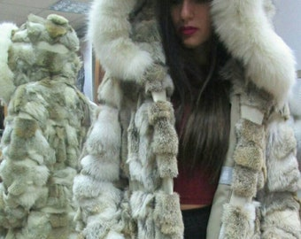 New,Natural Real Hooded Coyote Fur coat with leather stripes!!!