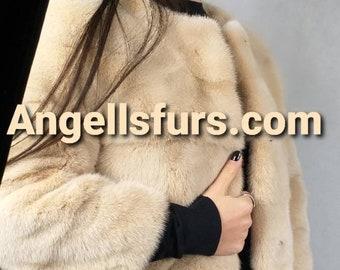 New Natural Real Fullskin MINK fur jacket in light Beige color! Order Any color!