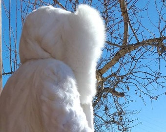 NEW!!!Natural Real Cream white Mink Hooded Fur with Fox!