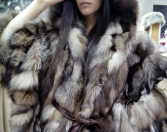 NEW Natural Real One Size CRYSTAL FOX Fur Cape!