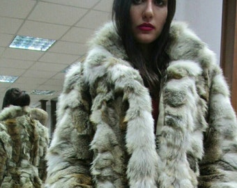 New!Natural Real Long Coyote Fur coat with Hat!!!