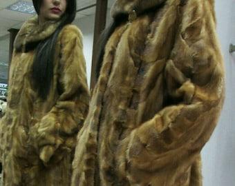 New Real Beautiful Golden MINK LONG Fur Coat! Order Any color!