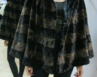 NEW Fine Natural Real MINK Fur Cape Jacket in A-line model!One Size!