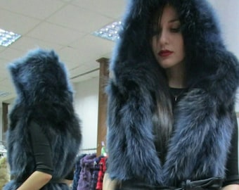 New!Natural Real DEEP BLUE color Hooded Raccoon Fur Vest!