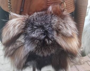 New!Natural,Real Crystal FOX FUR small BAG!!!