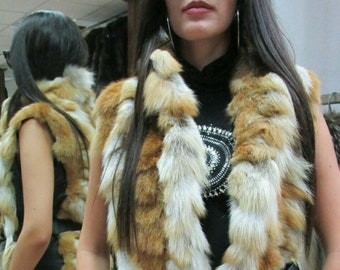 Red Fox Fur vest and Leather!Brand New Real Natural Genuine Fur!