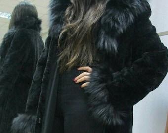 New,Natural Real Beautiful sheared Black Long Mink Fur Coat !!!