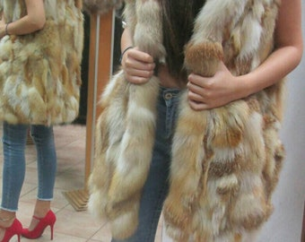 New!Natural Real Red Fox Long Hooded Vest!