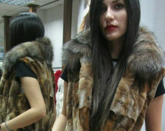 SALE!New Natural Real  sheared Crystal Fox Fur vest with fox collar!