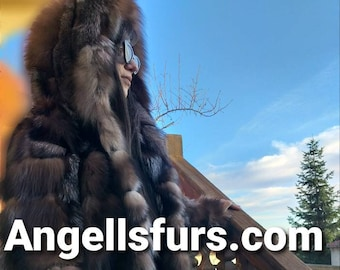 NEW Longer Version of the Natural Real Hooded Crystal Fox Fur coat!