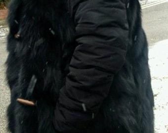 Men's New! LONG Hooded Black FOX Fur VEST!