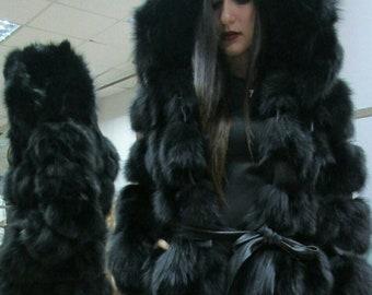 BLACK ELEGANCE!New,Natural, Real Modern model Hooded Fox Fur coat!