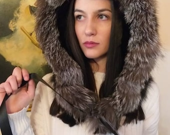 New,Natural Real Black FOX HOOD with Silver fox trim!