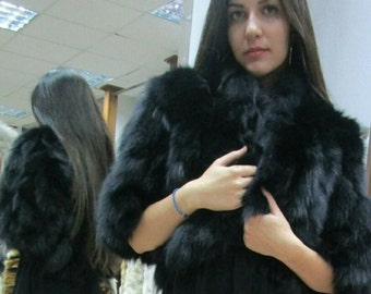 NEW!Natural Real BLACK Fox Fur BOLERO!!!